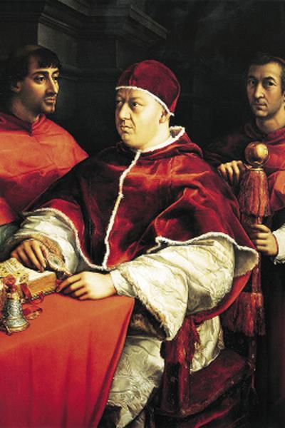 Рафаэль. Портрет папы Льва Х с кардиналами Джулио Медичи и Луиджи Росси. Около 1518 года / Фото: ПРЕДОСТАВЛЕНО М.ЗОЛОТАРЕВЫМ