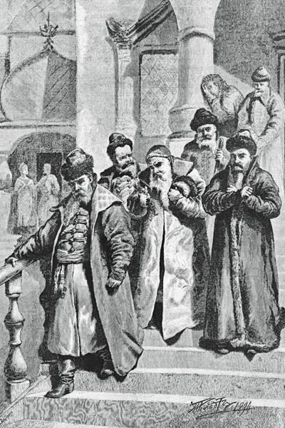Бояре возвращаются от царя Петра, остригшего им бороды. Гравюра. 1894 год / Фото: ПРЕДОСТАВЛЕНО М.ЗОЛОТАРЕВЫМ