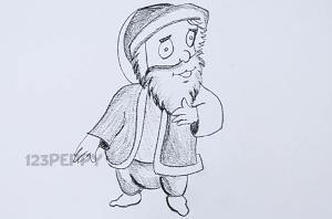 нарисовать пошагово мужчину с бородой карандашом, рисунок мужчины с бородой, контурный рисунок, черно-белый рисунок
