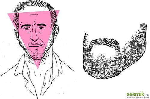 Треугольный тип головы и пример бороды