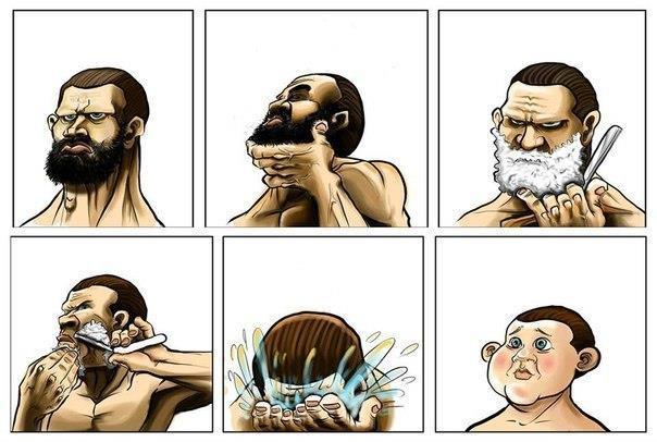 Что происходит, когда мужчина бреется