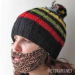 растаманская шапка с бородой