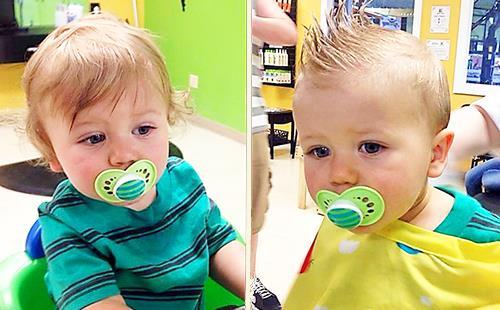 Маленький мальчик до и после стрижки