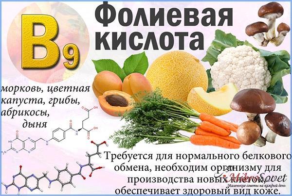 витамин В9 для волос с продуктами
