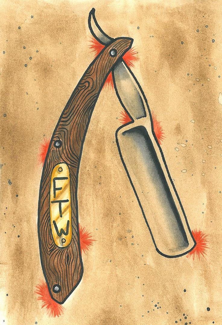 Эскизы опасных бритв для тату