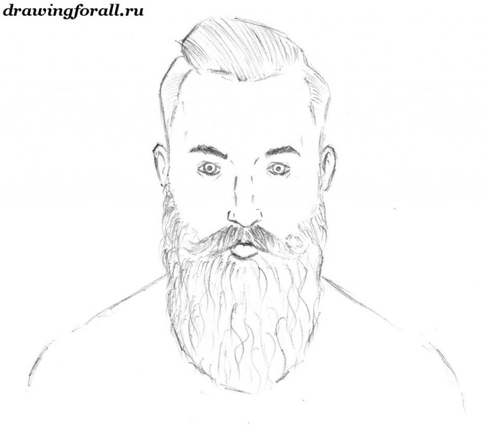 как нарисовать портрет бородатого человека