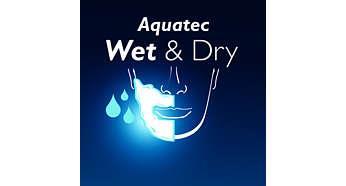 Специальное уплотнение бритвы Aquatec обеспечивает комфортное сухое и освежающее влажное бритье