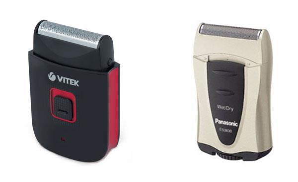 Дорожные электробритвы Vitek и Panasonic с питанием от батареек